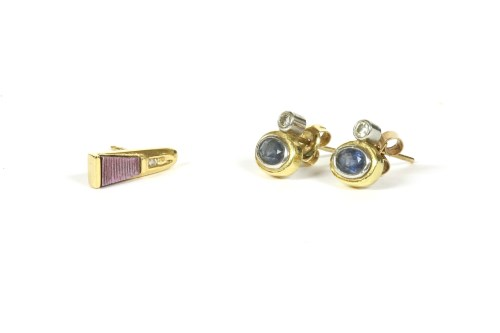 Lot 36-A pair of 18ct gold diamond and sapphire stud earrings