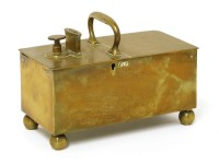 Lot 505-A brass tavern honesty box with a central handle flanked by a coin slot