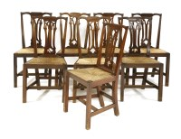 Lot 522-A harlequin set of eight elm and mahogany dining chairs