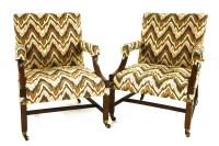 Lot 514-Two similar George III mahogany Gainsborough chairs