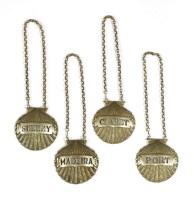 Lot 520-Four silver decanter labels