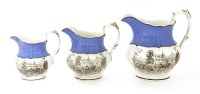 Lot 508-A set of three graduated Staffordshire pottery 'Irish Repeal' commemorative jugs