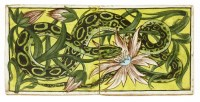 122 - A William de Morgan two-tile snake and flower panel