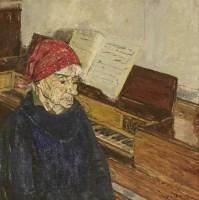 Lot 15-*Olwyn Bowey RA (b.1936) A WOMAN SITTING AT A PIANO Signed l.r.
