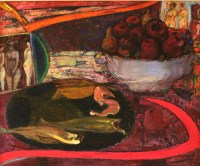 Lot 7-*Sir Robin Philipson RA RSA RSW (1916-1992) STILL LIFE WITH A PLATE OF FISH AND BOWL OF FRUIT Signed and dated 1990/91 verso