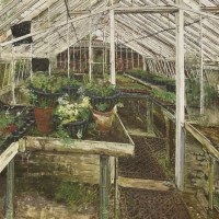 Lot 46 - *Olwyn Bowey RA (b.1936)  'MYRTLE'S HANGING BASKETS' Signed and dated 1989 l.l.