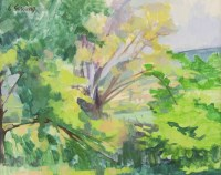 Lot 79 - *Sir Lawrence Gowing RA (1918-1991) 'TREES OVER STREAM' Signed u.l.