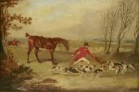 Lot 88 - Follower of Henry Alken FOX HUNTING  Oil on canvas 23 x 32.5cm