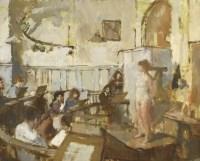 Lot 80 - *Bernard Dunstan RA (1920-2017) 'LIFE CLASS AT THE ROYAL ACADEMY SCHOOLS' Signed with initials l.l.