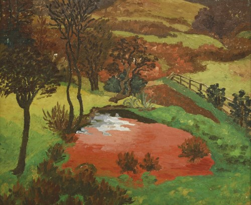 Lot 385-*Sir Cedric Morris (1889-1982) 'THE RED POND' Signed and dated '1-32' l.r.