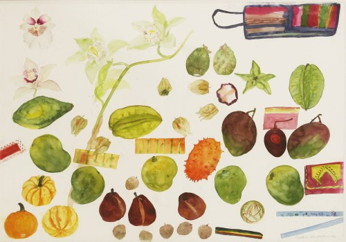428 - *Dame Elizabeth Blackadder RA RSA (b.1931) EXOTIC FRUITS AND ORCHIDS Signed and dated 1992 l.r.