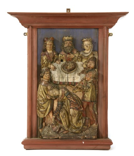 Lot 391 - A Rheinish carved limewood and polychrome decorated panel