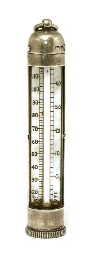Lot 22-An Edwardian novelty silver pocket thermometer