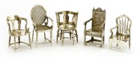 Lot 29-Five Edwardian miniature silver chairs