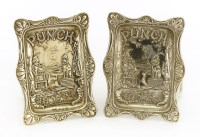 Lot 30-A matched pair of Victorian embossed 'Punch' pin trays