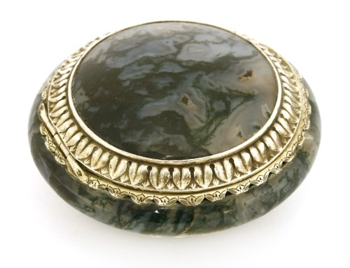 Lot 9-A French silver-mounted moss agate circular snuff box