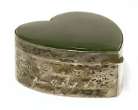 Lot 5-An Edwardian silver and nephrite novelty trinket box