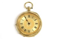 Lot 10-A gold Continental key wound open faced fob watch