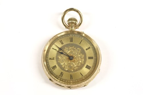 Lot 53-A Swiss gold open faced fob watch