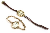 Lot 74-A ladies 9ct gold mechanical watch