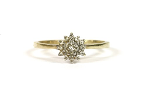 Lot 31-A 9ct gold diamond cluster ring