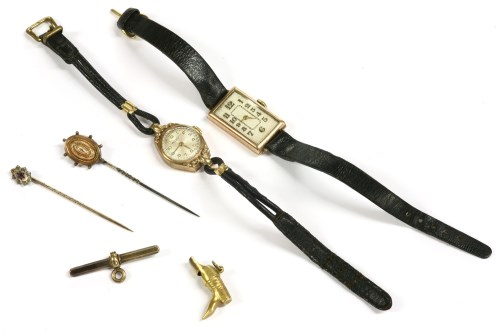 Lot 69-An Art Deco ladies 9ct gold mechanical strap watch