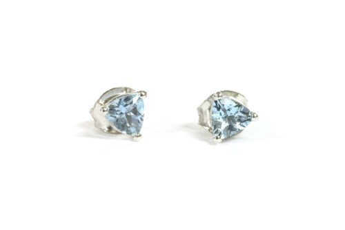 Lot 7-A pair of white gold single stone aquamarine earrings
