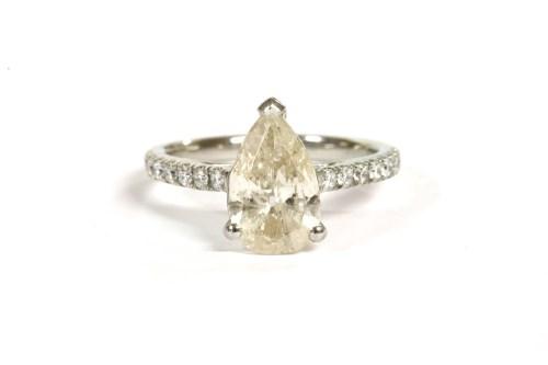 Lot 37-A platinum single stone pear shaped diamond ring