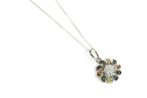 Lot 20-A white gold diamond cluster pendant