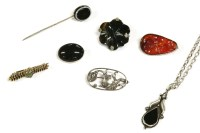 Lot 51-A collection of items to include a silver carved Chinese Cornelian brooch