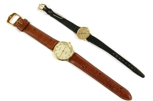 Lot 57-A ladies 9ct gold Omega mechanical Geneve strap watch