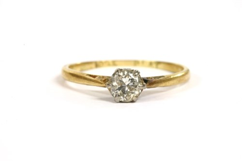 Lot 19-A gold single stone diamond ring