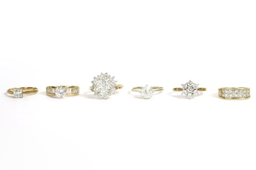Lot 65-Six assorted white stone rings
