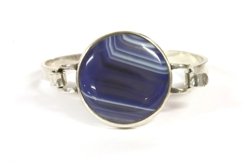 Lot 38-A sterling silver agate bangle