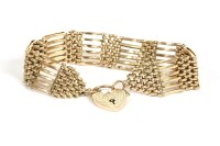 Lot 66-A gold six row gate link bracelet