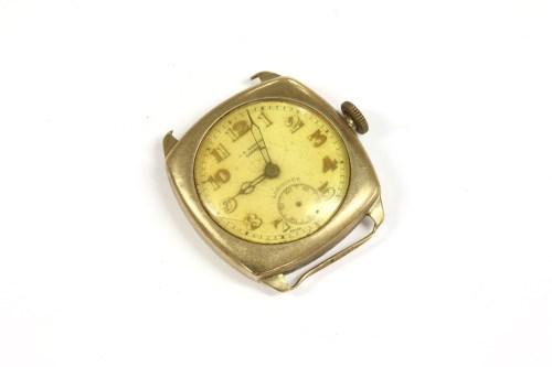 Lot 32-A gentlemen's 9ct gold J W Benson mechanical watch head