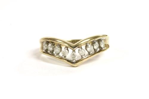 Lot 46-A 9ct gold diamond half wishbone ring