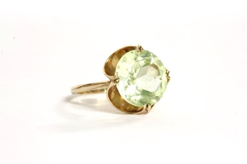 Lot 36-A single stone green synthetic spinel ring