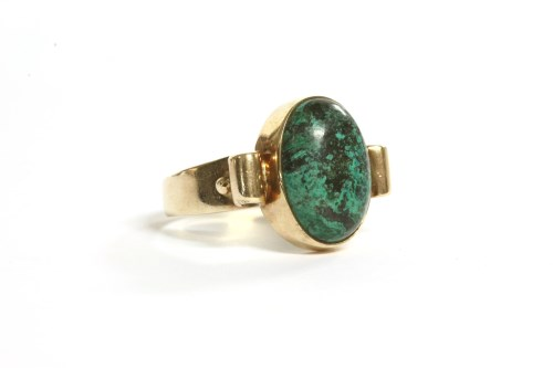 Lot 37-A 9ct gold single stone chrysocolla ring