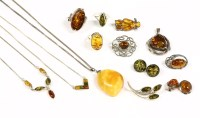 Lot 54-A collection of amber jewellery