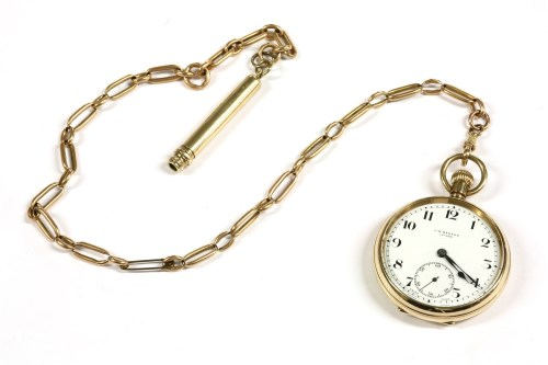 Lot 27-A 9ct gold top wound open faced pocket watch