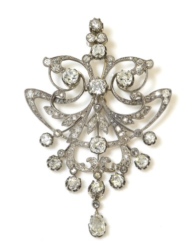 Lot 287 - A French late 19th century diamond set brooch pendant