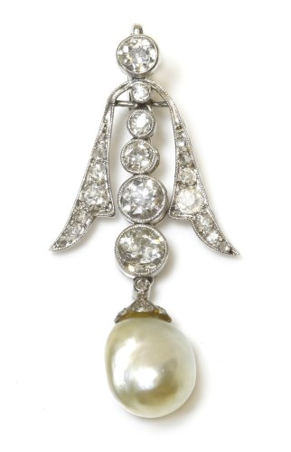Lot 286 - A pearl and diamond pendant