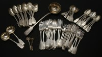 Lot 68A - A Victorian matched set of fiddle pattern cutlery