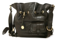 Lot 1075 - A Lancel black '1er Flirt' crocodile embossed leather cross-body bag