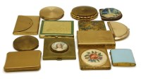 Lot 98-A collection of gilt and yellow metal vintage compacts to include enamelled examples