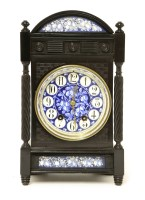 Lot 1-An Aesthetic ebonised and enamelled mantel clock