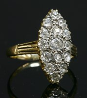 Lot 50-A late Victorian diamond set marquise cluster ring