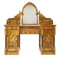 Lot 3-A walnut and inlaid Gothic Revival dressing table