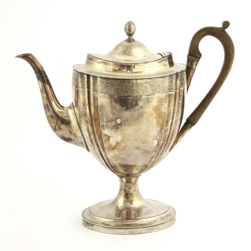 Lot 40-An Old Sheffield plate coffee pot